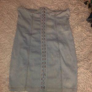 Skirts - Acid Wash Denim Under Bust Corset Skirt